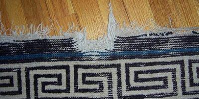 Oriental Rug Torn Fringe